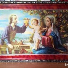 Arte: BONITO CUADRO CON LITOGRAFIA ANTIGUA DE - SAN JOSE CON MARIA Y EL NIÑO JESUS -DE FINALES SIGLO XIX. Lote 183702721