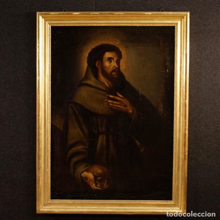 ANTIGUA PINTURA RELIGIOSA ESPAÑOLA SAN FRANCISCO DEL SIGLO XVIII. (Arte - Arte Religioso - Pintura Religiosa - Oleo)