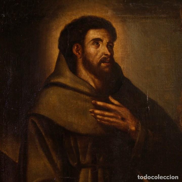 Arte: Antigua pintura religiosa española san francisco del siglo XVIII. - Foto 2 - 153958058