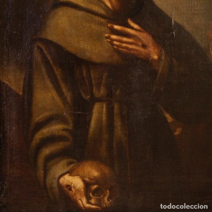 Arte: Antigua pintura religiosa española san francisco del siglo XVIII. - Foto 3 - 153958058