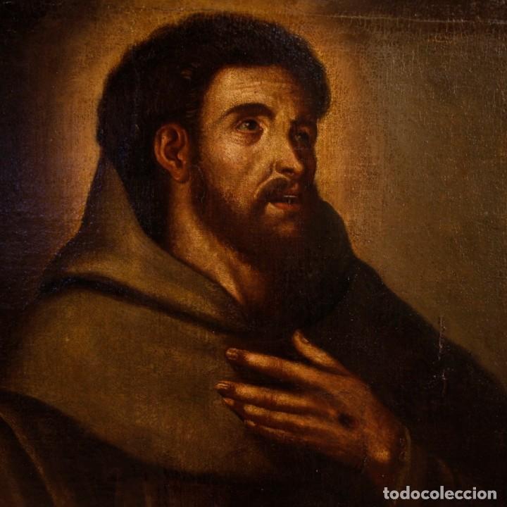 Arte: Antigua pintura religiosa española san francisco del siglo XVIII. - Foto 4 - 153958058