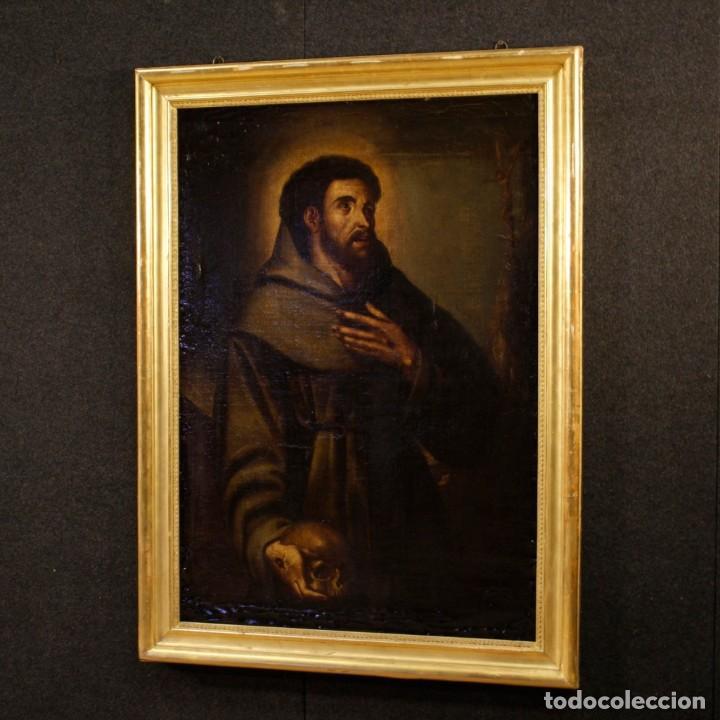 Arte: Antigua pintura religiosa española san francisco del siglo XVIII. - Foto 10 - 153958058