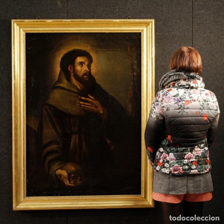 Arte: Antigua pintura religiosa española san francisco del siglo XVIII. - Foto 11 - 153958058