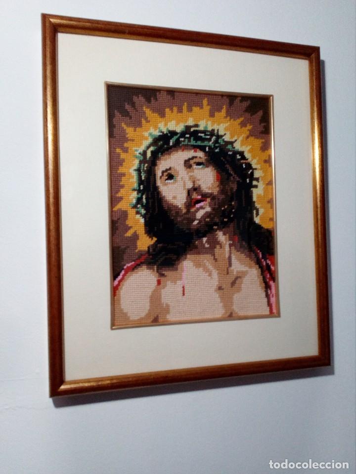 CUADRO ENMARCADO DE JESUCRISTO (JESÚS) EN PATCHWORK - TELA (ECCE HOMO) 44X36 CM (Arte - Arte Religioso - Pintura Religiosa - Otros)