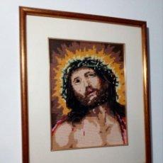 Arte: CUADRO ENMARCADO DE JESUCRISTO (JESÚS) EN PATCHWORK - TELA (ECCE HOMO) 44X36 CM. Lote 153986162