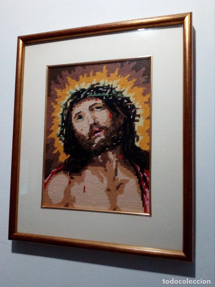 Arte: CUADRO ENMARCADO DE JESUCRISTO (JESÚS) EN PATCHWORK - TELA (ECCE HOMO) 44X36 CM - Foto 3 - 153986162
