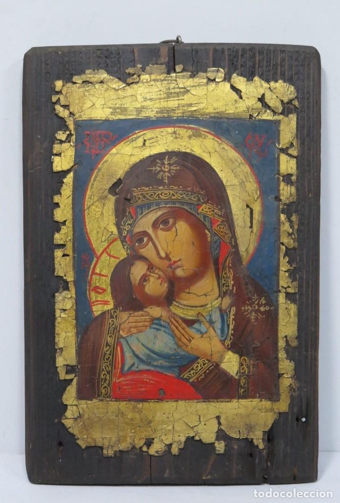 PRECIOSO ICONO. PINTADO A MANO SOBRE FONDO DE PAN DE ORO (Arte - Arte Religioso - Pintura Religiosa - Oleo)