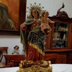 Arte: ESCULTURA VIRGEN DEL CARMEN Y EL NIÑO JESUS POLICROMADA EN HOJAS DE PAN DE ORO 23 KILATES. Lote 154217690