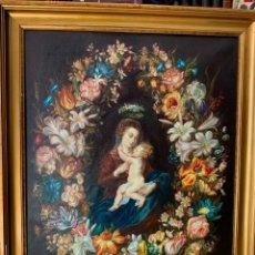 Arte: EXCEPCIONAL OLEO - VIRGEN CON EL NIÑO - 85X65CM - GUIRNALDA DE FLORES - JESÚS -. Lote 154231182