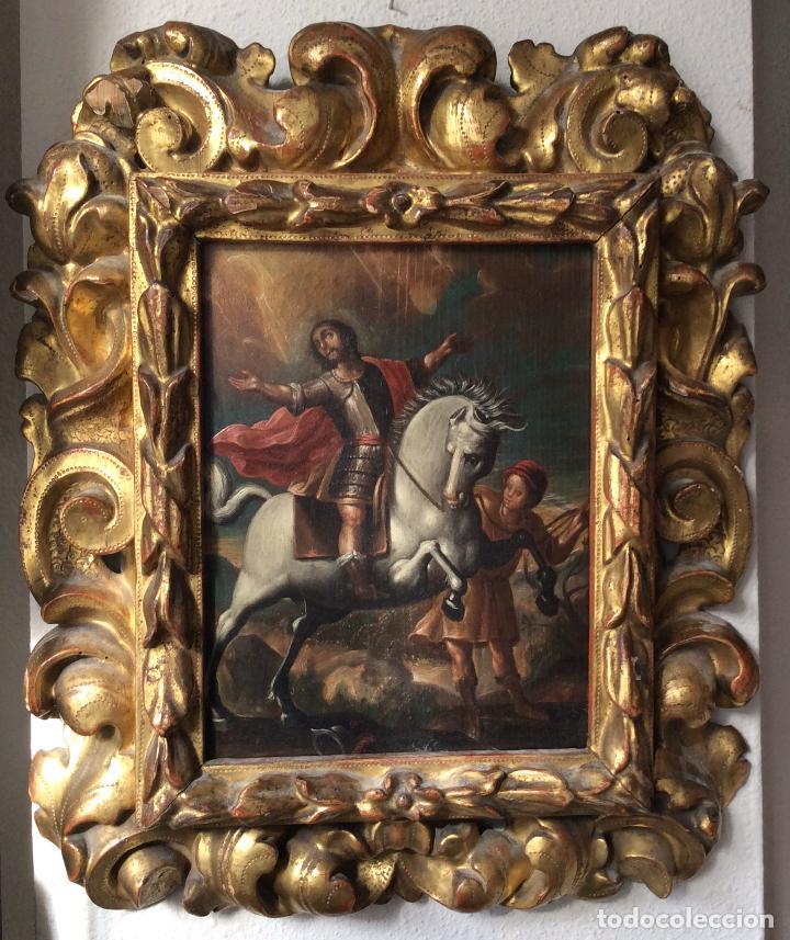 SAN MARTÍN DE TOURS ,SIGLO XVIII.ÓLEO SOBRE TABLA CON MARCO DE ÉPOCA.IDEAL COLECCIONISTAS (Arte - Arte Religioso - Pintura Religiosa - Oleo)