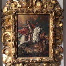 Arte: SAN MARTÍN DE TOURS ,SIGLO XVIII.ÓLEO SOBRE TABLA CON MARCO DE ÉPOCA.IDEAL COLECCIONISTAS. Lote 154293898
