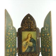 Art: ANTIGO TRIPTICO RELIGIOSO PLEGABLE EXCELENTE DECORACIÓN DE PARED. Lote 154294294