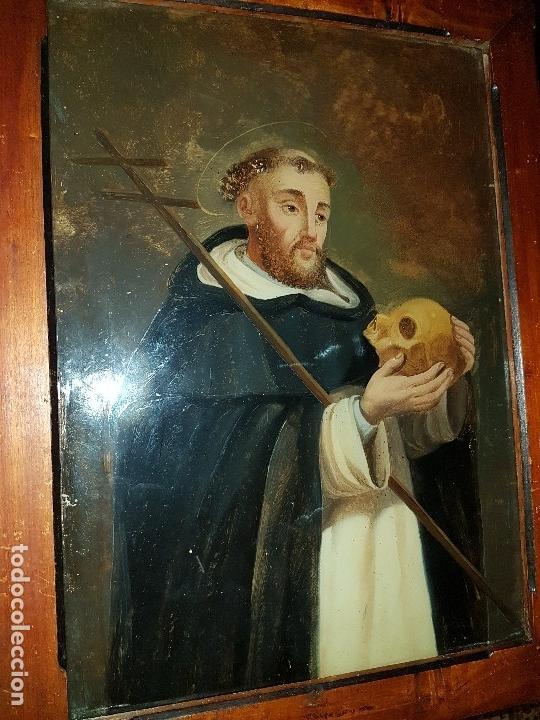 Arte: OLEO SOBRE CRISTAL SG XVIII, SAN FRANCISCO ENMARCADO - Foto 3 - 154327286