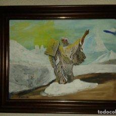 Arte: MOISES Y LAS TABLAS DE LA LEY,ENMARCADA,ÓLEO MÁS ACRÍLICA SOBRE TABLEX,30 X 40 CMS. Lote 154423438