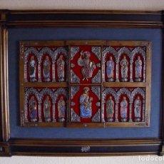 Arte: ESPECTACULAR FRONTAL, ORFEBRERÍA PLATA Y ESMALTE AL FUEGO (CRISTAL - CLOISONNE) 107 X 77 CM. Lote 154491494