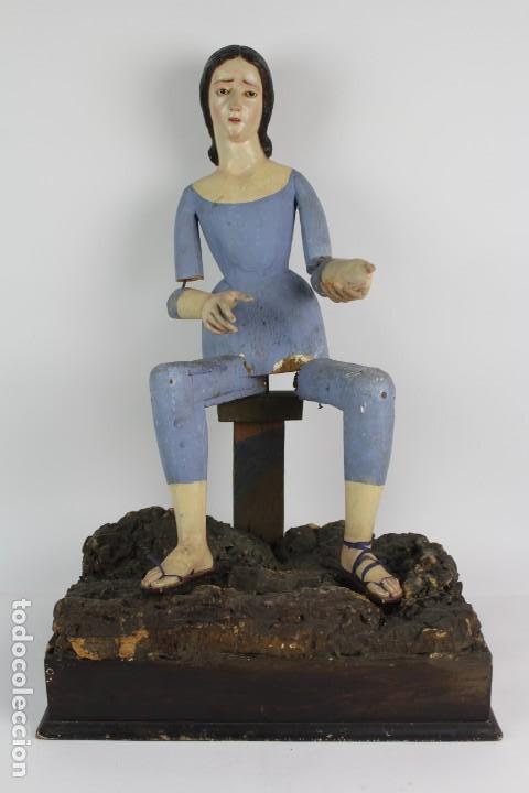 VIRGEN DOLOROSA CAP I POTA, TALLA DE MADERA POLICROMADA. S.XIX. 72 CM. (Arte - Arte Religioso - Escultura)