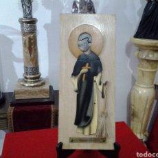 Arte: CUADRO O ICONO DE MADERA EN RELIEVE DE SAN MARTIN DE PORRES. Lote 154681314