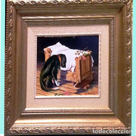 TARIFA VAZQUEZ, JESUS.- PERRO TRISTE Y CUNA -OLEO SOBRE TABLEX, 24 X 20 CM. FIRMADO Y ENMARCADO. (Arte - Arte Religioso - Pintura Religiosa - Oleo)