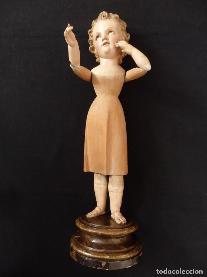 Arte: Niño Jesús. Imagen vestidera o cap i pota en madera policromada. 47 cm. Hacia 1900. - Foto 2 - 154722550