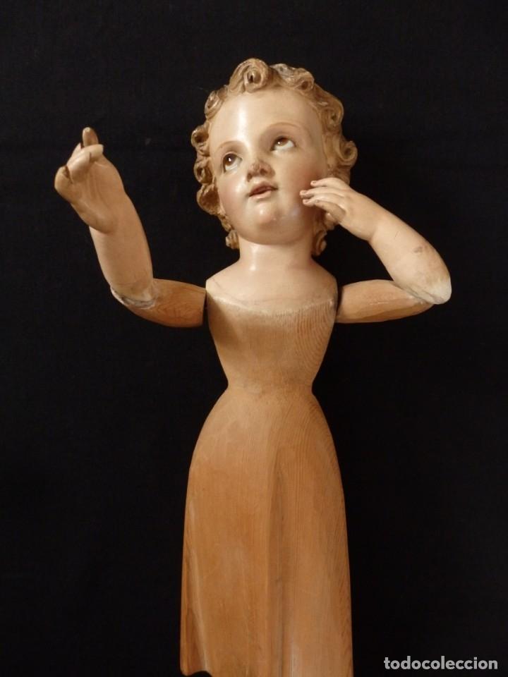 Arte: Niño Jesús. Imagen vestidera o cap i pota en madera policromada. 47 cm. Hacia 1900. - Foto 3 - 154722550