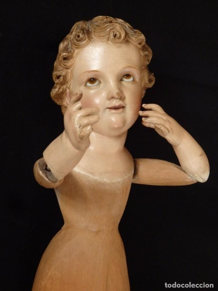Arte: Niño Jesús. Imagen vestidera o cap i pota en madera policromada. 47 cm. Hacia 1900. - Foto 4 - 154722550