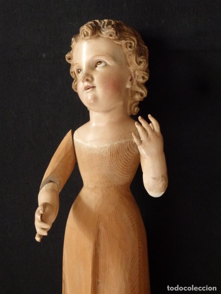 Arte: Niño Jesús. Imagen vestidera o cap i pota en madera policromada. 47 cm. Hacia 1900. - Foto 8 - 154722550