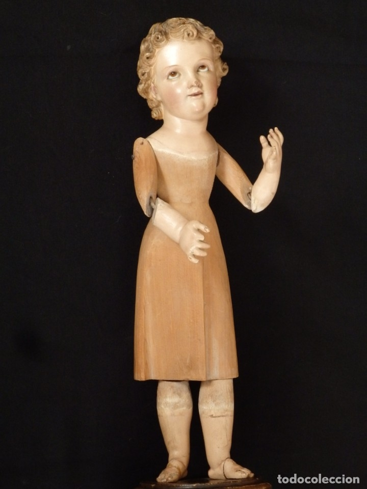 Arte: Niño Jesús. Imagen vestidera o cap i pota en madera policromada. 47 cm. Hacia 1900. - Foto 12 - 154722550