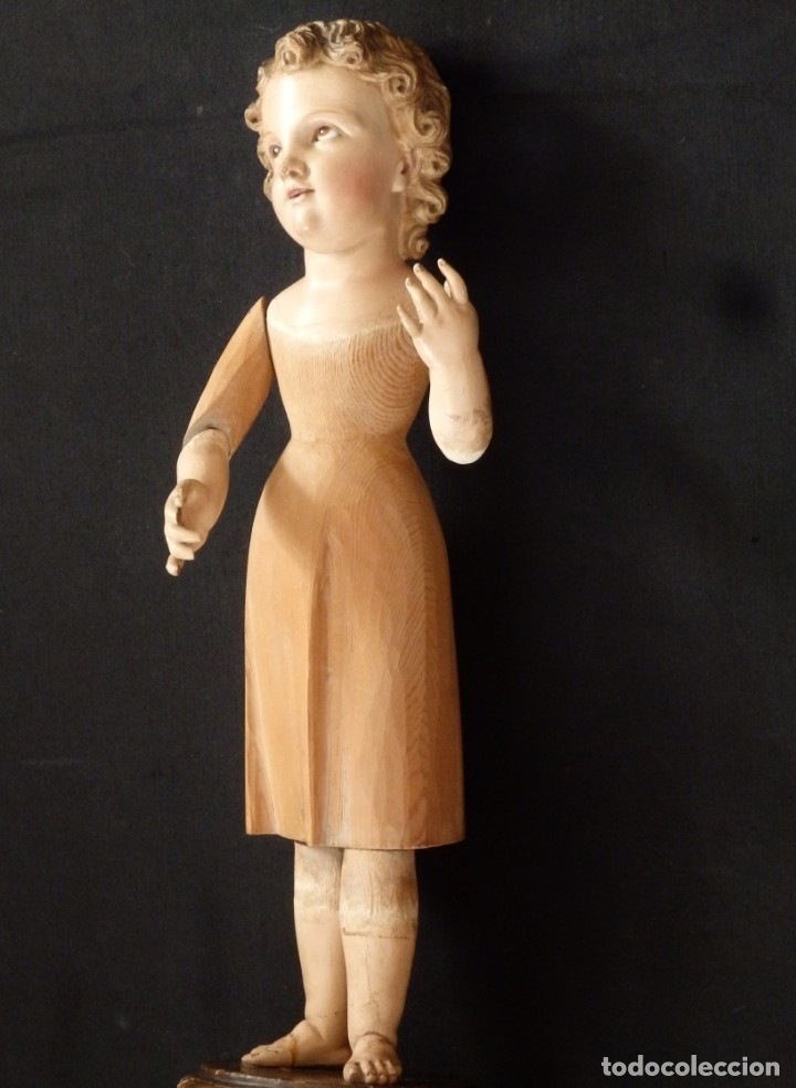Arte: Niño Jesús. Imagen vestidera o cap i pota en madera policromada. 47 cm. Hacia 1900. - Foto 13 - 154722550