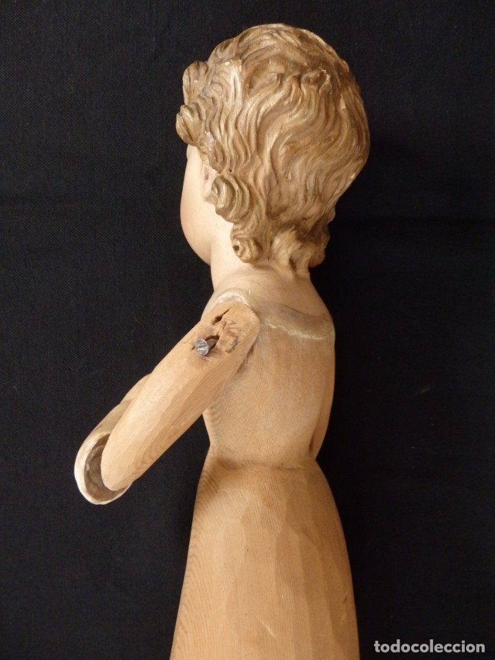 Arte: Niño Jesús. Imagen vestidera o cap i pota en madera policromada. 47 cm. Hacia 1900. - Foto 17 - 154722550