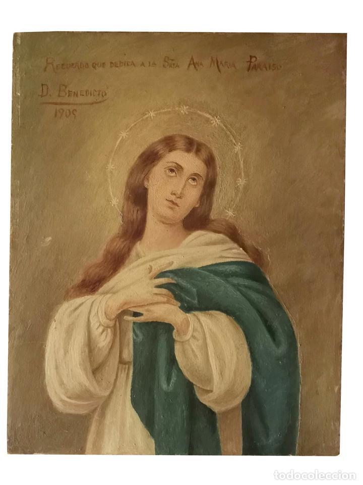INMACULADA, OLEO SOBRE TABLA, BELLÍSIMA, 24 X 19, TAMAÑO IDEAL, FIRMADO Y DEDICADO, 1909 (Arte - Arte Religioso - Pintura Religiosa - Oleo)