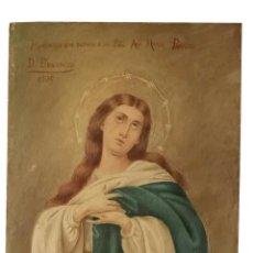 Arte: INMACULADA, OLEO SOBRE TABLA, BELLÍSIMA, 24 X 19, TAMAÑO IDEAL, FIRMADO Y DEDICADO, 1909. Lote 154781410