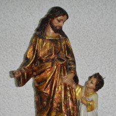 Arte: ANTIGUO SAN JOSÉ CON EL NIÑO JESÚS. ESTUCO. ESTOFADO CON PAN DE ORO.. Lote 154783010