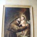 Arte: SAN ANTONIO CON NIÑO.-OLEO/LIENZO.-PINTURA.-POSIBLE ESCUELA SEVILLANA.-MERIDA.-AÑO 1884.. Lote 154816234