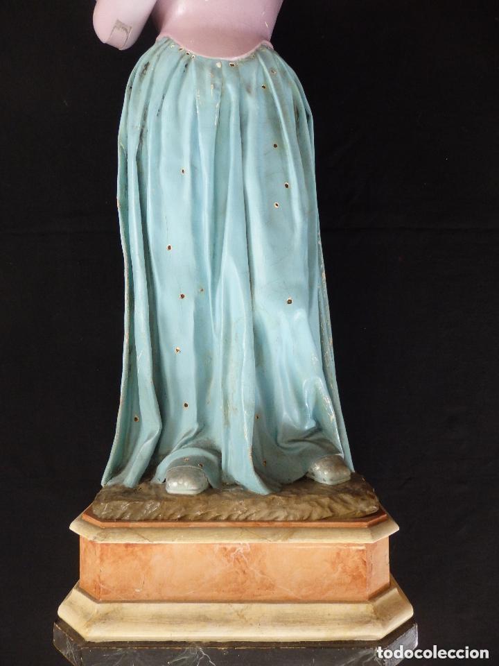 Arte: Virgen Niña. Escultura vestidera o cap i pota en madera policromada.105 cm. Siglo XIX. semana santa - Foto 3 - 154845778