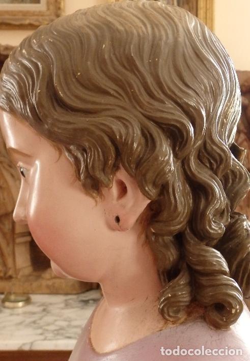 Arte: Virgen Niña. Escultura vestidera o cap i pota en madera policromada.105 cm. Siglo XIX. semana santa - Foto 9 - 154845778
