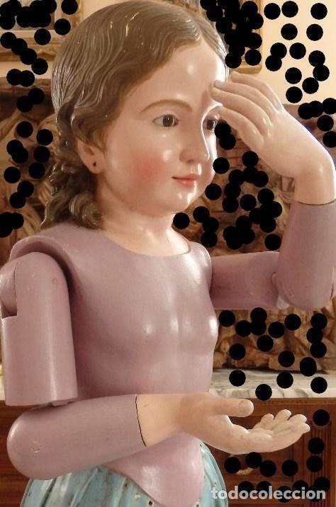 Arte: Virgen Niña. Escultura vestidera o cap i pota en madera policromada.105 cm. Siglo XIX. semana santa - Foto 10 - 154845778