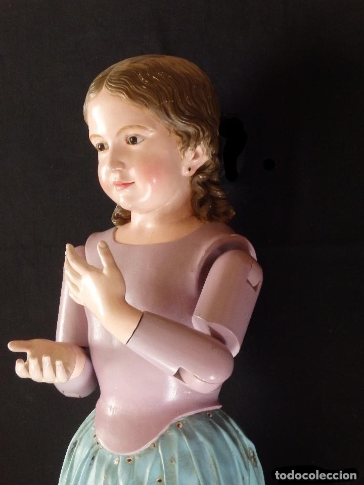 Arte: Virgen Niña. Escultura vestidera o cap i pota en madera policromada.105 cm. Siglo XIX. semana santa - Foto 20 - 154845778