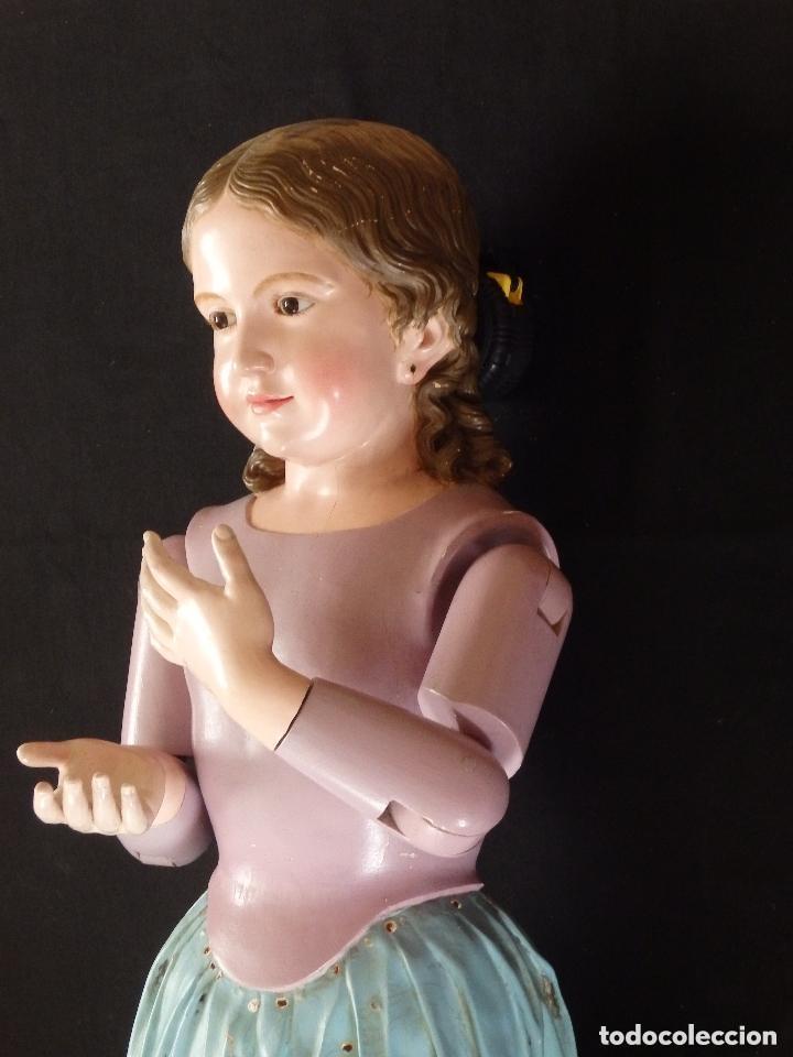 Arte: Virgen Niña. Escultura vestidera o cap i pota en madera policromada.105 cm. Siglo XIX. semana santa - Foto 22 - 154845778