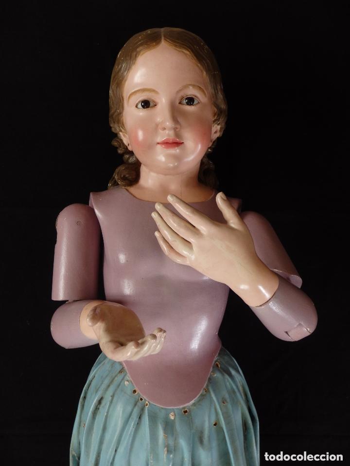 Arte: Virgen Niña. Escultura vestidera o cap i pota en madera policromada.105 cm. Siglo XIX. semana santa - Foto 23 - 154845778