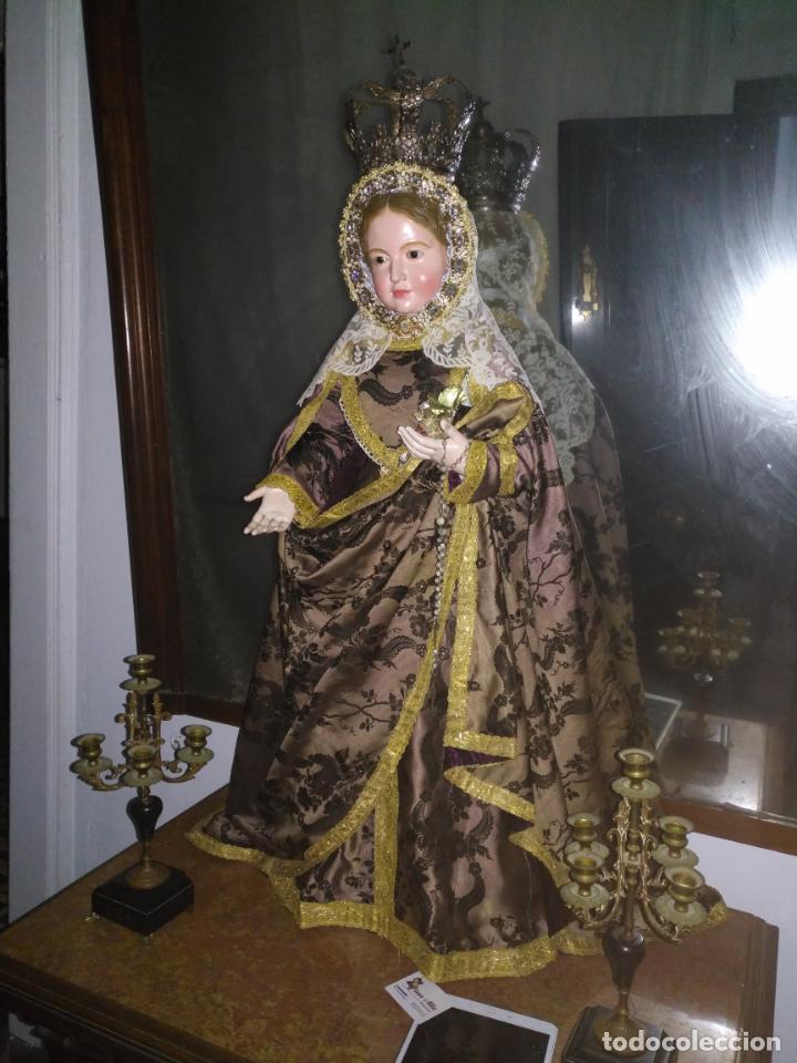 Arte: Virgen Niña. Escultura vestidera o cap i pota en madera policromada.105 cm. Siglo XIX. semana santa - Foto 2 - 154845778