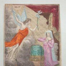 Arte: ANTIGUO GRABADO FRANCÉS COLOREADO DE LA ANUNCIACIÓN (SIGLO XVIII-XIX). Lote 154868954