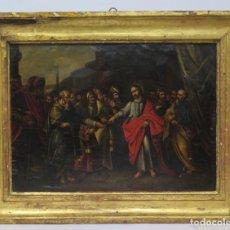 Arte: GRAN OLEO S/ COBRE. JESUS REPRENDE A LOS FARISEOS. ESCUELA FLAMENCA. SIGLO XVII. Lote 154886402
