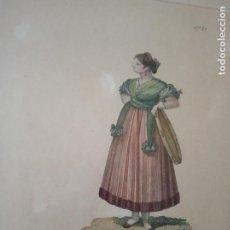 Arte: BELLO GRABADO COLOREADO GITANA - NUMERADO - Nº 28 - C.º 7º - MARCO ANTIGUO DE NOGAL -. Lote 154966754