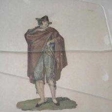 Arte: BELLO GRABADO COLOREADO GITANO - NUMERADO - Nº 28 - C.º 7º - MARCO ANTIGUO DE NOGAL -. Lote 154968942