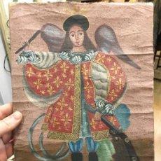 Arte: ANTIGUO OLEO SOBRE LIENZO ESTILO CUSQUEÑO SANTO O ARCANGEL - MEDIDA 34X23 CM - RELIGIOSO. Lote 154981742