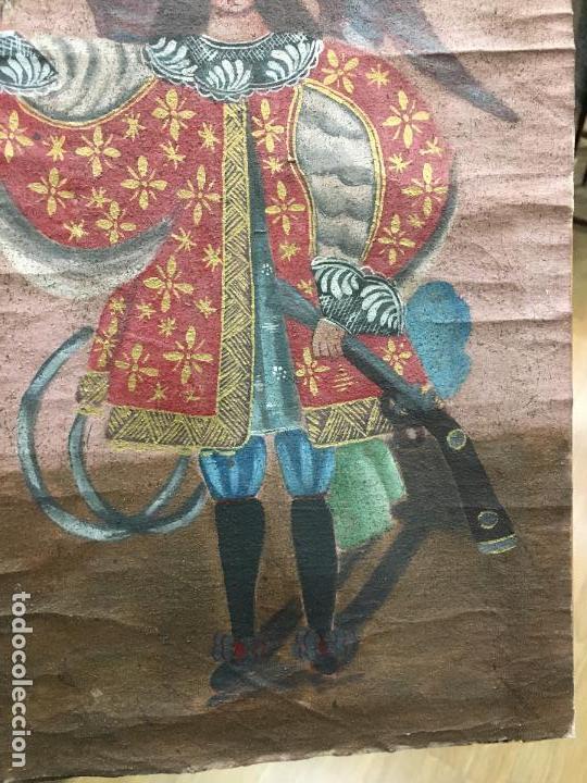 Arte: ANTIGUO OLEO SOBRE LIENZO ESTILO CUSQUEÑO SANTO O ARCANGEL - MEDIDA 34X23 CM - RELIGIOSO - Foto 3 - 154981742