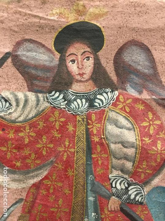 Arte: ANTIGUO OLEO SOBRE LIENZO ESTILO CUSQUEÑO SANTO O ARCANGEL - MEDIDA 34X23 CM - RELIGIOSO - Foto 4 - 154981742