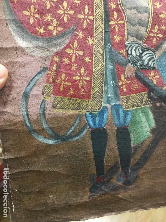 Arte: ANTIGUO OLEO SOBRE LIENZO ESTILO CUSQUEÑO SANTO O ARCANGEL - MEDIDA 34X23 CM - RELIGIOSO - Foto 6 - 154981742