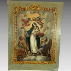 Arte: ANTIGUA PINTURA VIRGEN DE LA LUZ CON DEDICATORIA FECHADA MÉXICO. Lote 154986894