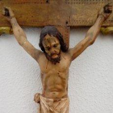 Arte: TALLA EN MADERA DE CRUCIFICADO ESCUELA BARROCA SEVILLANA, DE FINALES SIGLO XVII . DIM.- 89X49 CMS. Lote 155012666